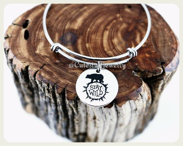 Stay Wild Bangle, Handmade Inspirational Jewelry, Stay Wild Bracelet, Wild Child Jewelry, Stay Wild Gift, Wild Bear, Boho chic, Festivals