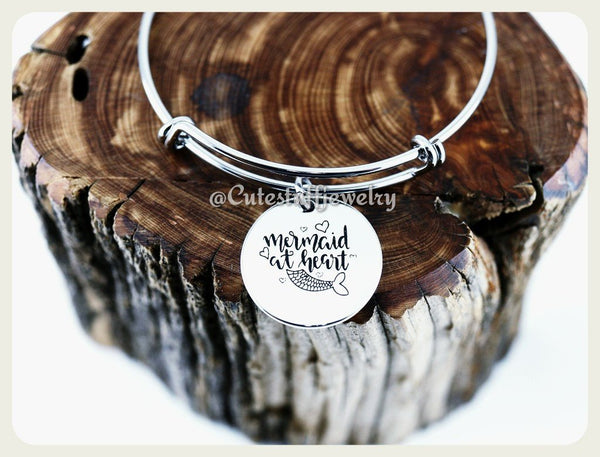 Mermaid at Heart Bracelet, Mermaid Bangle, Handmade Mermaid Jewelry, Mermaid Accessory, Mermaids Bracelet, Mermaid Gift, Little Girl, summer