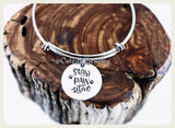 Stay Paw-sitive Bracelet, Stay Pawsitive Bangle, Handmade Pet Jewelry, Dog Bracelet, Cat Bracelet, Rescue Pet Gift, Pawprints, Stay Positive