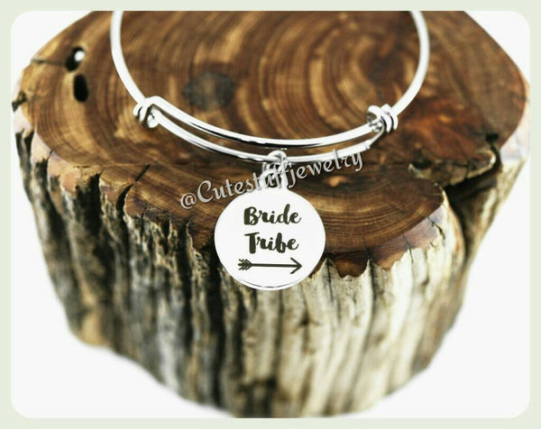 Bride Tribe Bridesmaid Bangle, Bridesmaid Bracelet, Bridal Party, Handmade Bridesmaid Jewelry, Bride Tribe Bracelet, Bridesmaid Gift