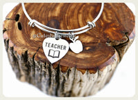 Handmade Teacher Bracelet, Teacher Jewelry, Favorite Teacher Bangle, Handmade Teachers Appreciation Jewelry,  Teacher Gift, English Teacher