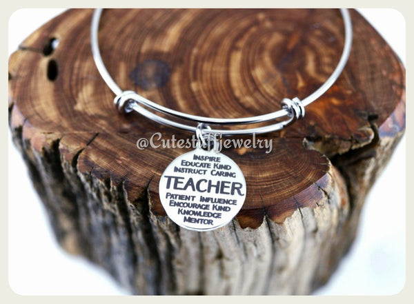 Mentor Teacher Bracelet, Teacher Bangle, Favorite Teacher Bracelet, Favorite Teacher Bangle, Handmade Teachers Appreciation Jewelry