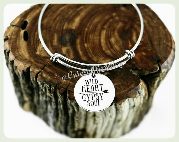 Wild Heart Gypsy Soul Bangle Bracelet, Wild Heart Bracelet, Traveler, Hippie, Boho Bracelet, Boho Bangle, Handmade Gypsy Jewelry, Boho Gift