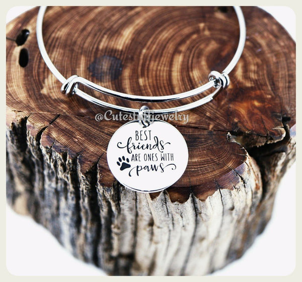 Best friends have paws Bracelet, BFF Pet Bangle, Handmade Pet Jewelry, Dog Bracelet, Cat Bracelet, Rescue Pet Gift, Pawprints