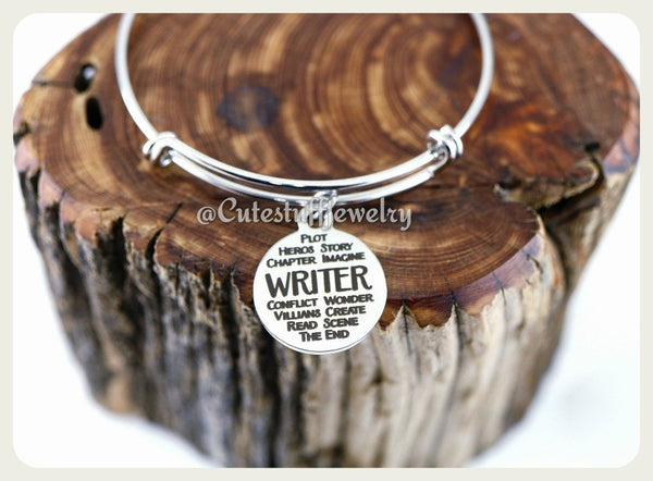 Inspirational Writer Bracelet, Writer Bangle, Favorite Writer Bracelet, Author Bangle, Handmade Writer Jewelry, Writer Gift, Author Jewelry