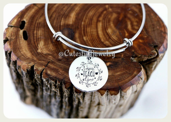 Inspire Teach Grow Bracelet, Inspire Teach  Grow Bangle, Favorite Teacher Bangle, Handmade Teachers Appreciation Jewelry,  Teacher Gift