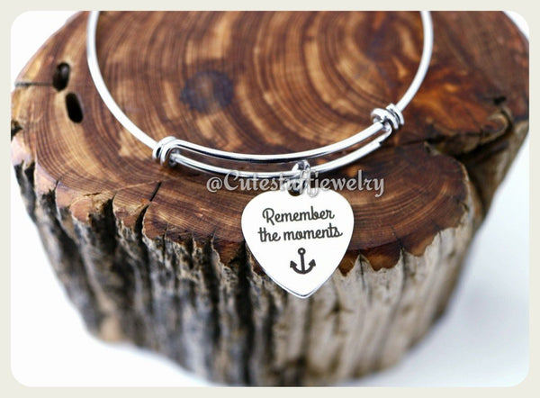 Remember the moments Bracelet, Remember the moments Bangle, Handmade Inspirational Jewelry, Remember the moments Jewelry, nostalgic gift