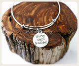 Strong Fearless Beautiful Bracelet, Strong Bangle, Handmade Inspirational Jewelry, Strong Woman, Strong Women, Fearless Bracelet Gift