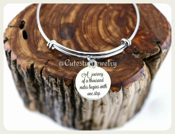 A journey of a thousand miles begins with a single step Bracelet, Journey Bangle, Journey Bracelet, Handmade Inspirational Jewelry