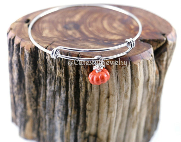 Fall Pumpkin Bracelet,  Pumpkin Bangle