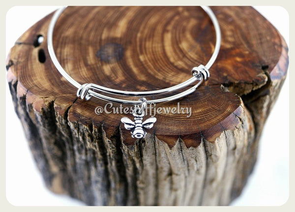 Honey Bee Bracelet, Bee Bracelet, Honey Bee Bangle, Handmade Bee Jewelry, Insect Bracelet, Honey Bee Gift, Honey Bees