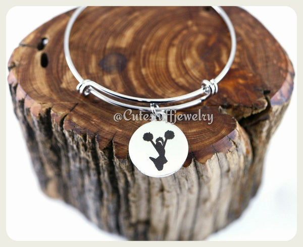Cheering Cheerleader Bracelet, Cheerleader Bangle, Cheer Bangle, Handmade Cheerleading Jewelry,  Cheer Bracelet, Cheer Squad, Cheer Team