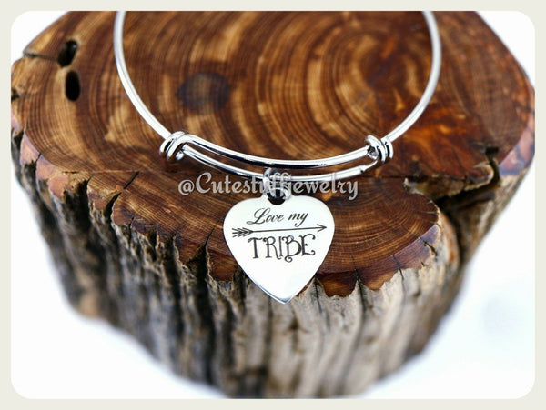 Love My Tribe Bracelet, Tribe Bangle, Handmade Mama Jewelry, Mama Gift, Sorority Mom, House Mom, Mama Gift, Mom Bangle, Teacher Tribe