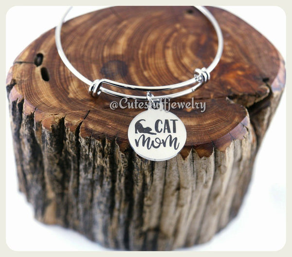 Cat Mom Bracelet, Crazy Cat Lady Bangle, Kitty Cat Bracelet, Handmade Cat Jewelry, Cat Bangle, Cat Bracelet, Cats, Cat Lover, Kitten