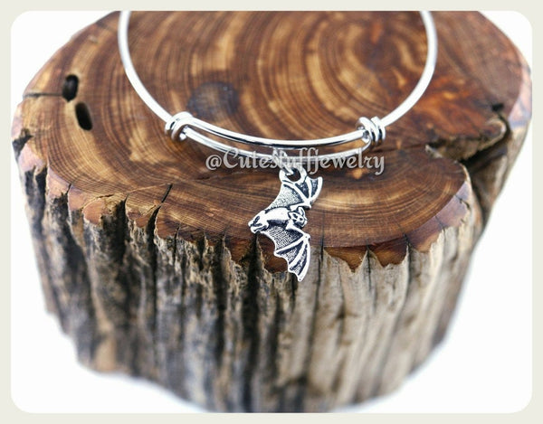 Halloween Bat Bracelet, Spooky Bat Bangle