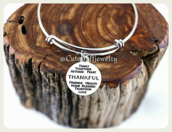 Thankful Bangle Bracelet, Give Thanks Bracelet