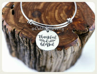 Thankful & Blessed Bracelet, Thankful and Blessed Bangle, Handmade Inspirational Jewelry, Thankful Bracelet, Thank you gift, Thankful Bangle