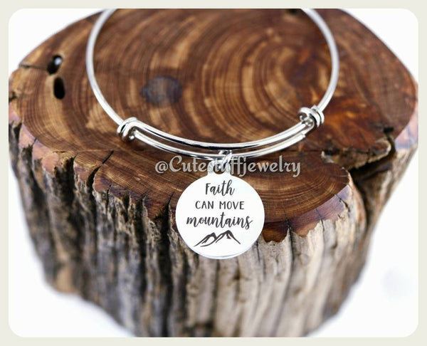 Faith can move mountains Bracelet, Faith Bracelet, Faith Bangle, Handmade Inspirational Jewelry
