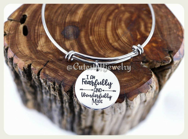 I am Fearfully and wonderfully made Bracelet, Faith Bracelet, Faith Bangle, Handmade Inspirational Jewelry