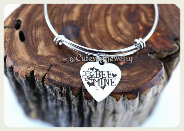 Bee Mine Bracelet, Be Mine Bangle, Valentines Bracelet, Valentines Day Bangle