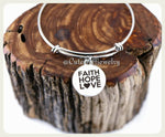 Faith Hope Love Bracelet,  Faith Hope Love Bangle, Heart Bangle, Charm Bracelet
