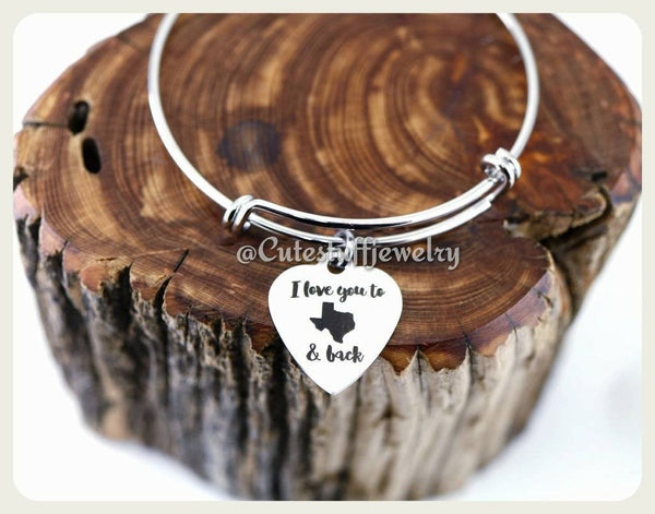 I Love you Texas and back Bracelet, Love you to the Texas & back bangle