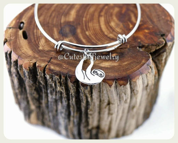 Hanging Sloth Bracelet, Baby Sloth Bangle