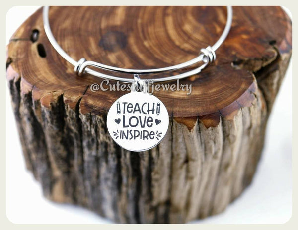 Teach Love Inspire Bracelet, Love Inspire Teach Bangle