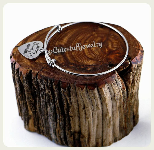 Strong Beautiful Worthy Bracelet, Strong Bangle