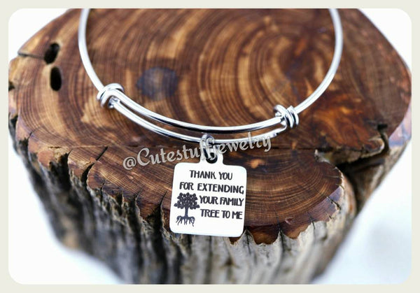 Thanks for extending your family tree to me Bracelet, Adopted Mom gift