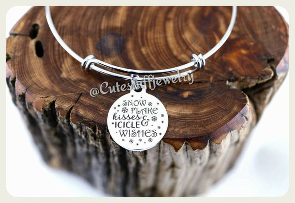Snow flake kisses & icicle wishes Bracelet, Snow and icicle Bangle