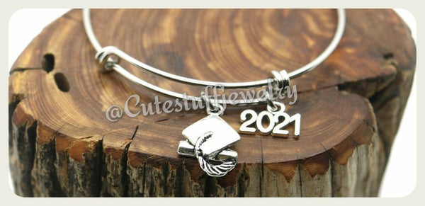 Class of 2021 Bracelet, Class of 2021 Bangle, Graduation Bracelet, Handmade Graduate Jewelry, Graduation Gift, Grad Gift, 2021 Grad Gift