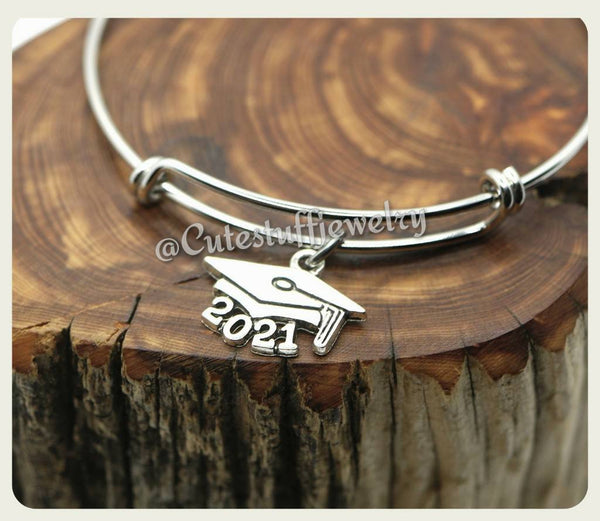 Class of 2021 Bracelet, Class of 2021 Bangle, Graduation Bracelet, Handmade Graduate Jewelry, Graduation Gift, Grad Gift, 2021 Graduate