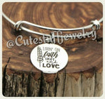 Living on Faith Hope and Love Bracelet, Livin' on Faith Hope and Love Bangle, Adjustable bangle, Handmade Inspirational Jewelry, Xmas gift