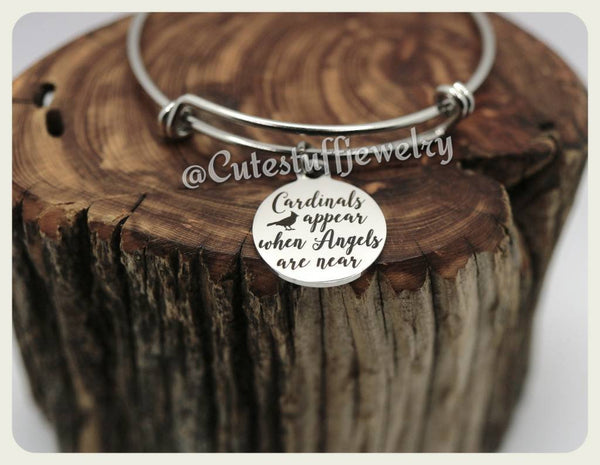 Cardinals appears when Angels are near Bangle, Cardinal Bracelet, Cardinal Bangle, Handmade In Memory Jewelry, Family Loss, Rainbow Baby