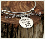 Adventure Awaits Find it Bracelet, And so the adventure begins Bangle, Handmade Inspirational Jewelry, Grad Gift, Graduation Gift,