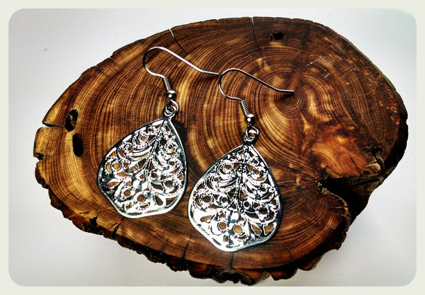 Teardrop Filigree Earrings, Teardrop Filigree Jewelry, Surgical Steel Earrings, Surgical Steel Hooks, Shiny Silver, Hypoallergenic Jewelry