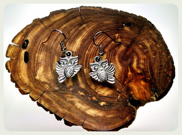 Handmade Tiny Owl Earrings On Surgical Steel Hooks In Antique Style Hypoallergenic Larp Jewelry Halloween