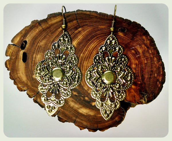 Handmade Bronze Embellished Filigree Embossed Earrings