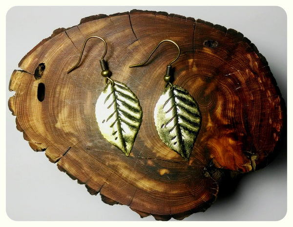 Handmade Tiny Bronze Leaf Earrings