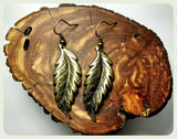 Handmade Curved Bronze Feather Wing Leaf Earrings