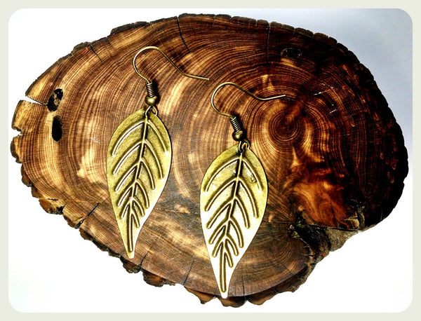 Handmade Simple Bronze Leaf Earrings