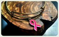 Breast Cancer Ribbon Bangle, Gold Pink Ribbon Bracelet, Adjustable Charm Wire Bracelet, Hope Ribbon Bangle, Handmade Jewelry Gift, Awareness