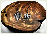 Handmade Frozen Snowflake Hypoallergenic Earrings Surgical Steel Hooks In Shiny Silver Snow Winter Festive Holiday Xmas Handcrafted Jewelry