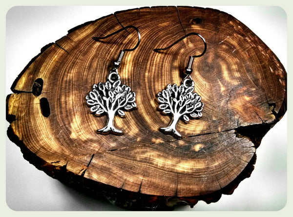 Handmade Tree of Life Earrings On Surgical Steel Hooks In Antique Style Trees Hypoallergenic Boho Ren Faire Gypsy Larp Charm Jewelry