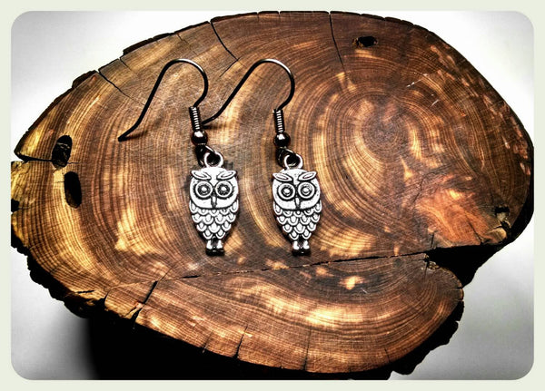 Handmade Petite Owl Earrings on Surgical Steel Hooks In Antique Silver Holiday Gift Athena Handcrafted Harry Potter Hypoallergenic Jewelry