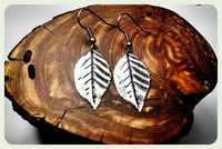 Handmade Solid Leaves Earrings On Surgical Steel Hooks Hypoallergenic Earrings In Antique Silver Hypoallergenic Jewelry Nature Leaf