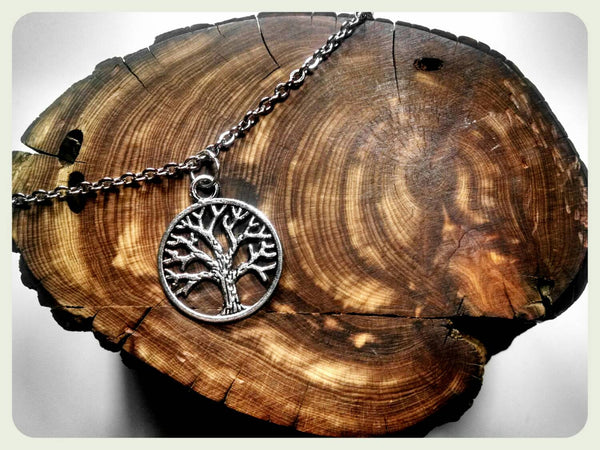 Handmade Tree of Life Necklace, Stainless Steel Necklace, Antique Trees, Valentine, Gift, Hypoallergenic Boho Ren Faire Gypsy Larp Jewelry