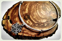 Handmade Frozen Snowflake Silver Charm Handcrafted Wire Bracelet Snow Bangle Winter Bridesmaid Gift Valentine Jewelry
