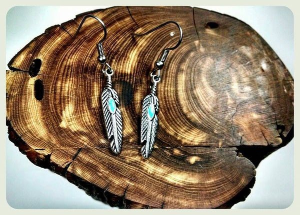 Feather Turquoise Earrings, Hypoallergenic Earrings, Surgical Steel Hooks, Boho Feather Earrings, Antique Silver Earrings, Handmade Jewelry